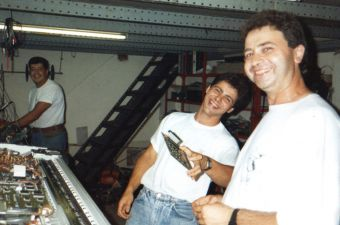 Juanjo, René and Ramón in the workshop (1991)